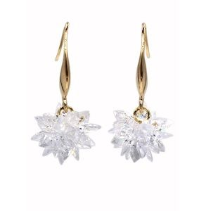 Gold sparkling snowflake crystal earrings